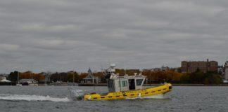 A Sea Machines autonomous boat in Boston Harbor.